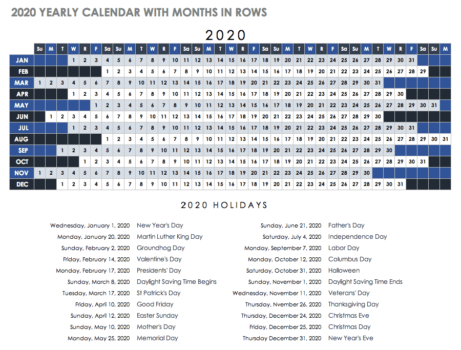 Excel calendar Template 2020 Editable With Holidays