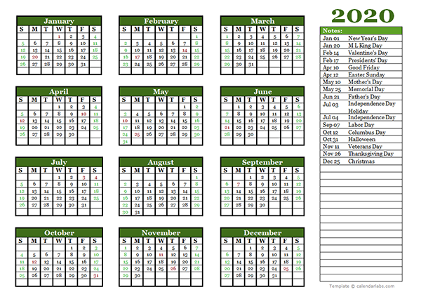 Excel calendar Template 2020 Editable Yearly