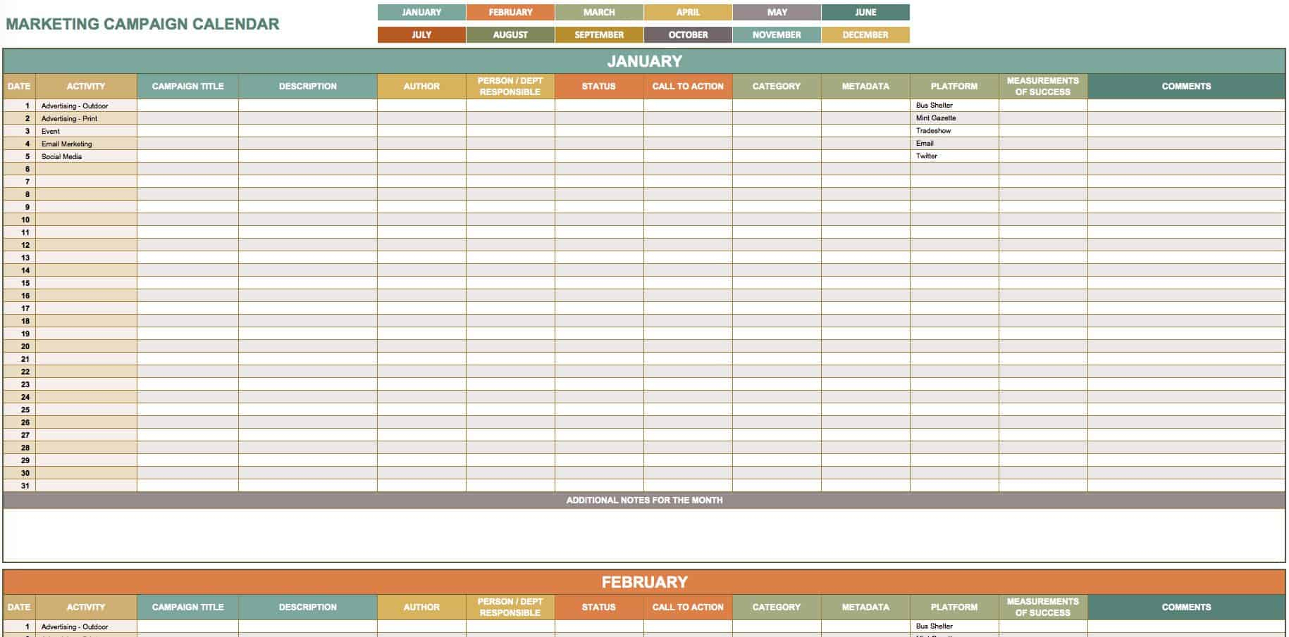 15+ Free Marketing Calendar Templates | Smartsheet with regard to Smartsheet Social Media Calendar
