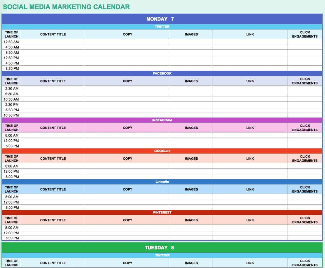 15+ Free Marketing Calendar Templates | Smartsheet within Smartsheet Social Media Calendar