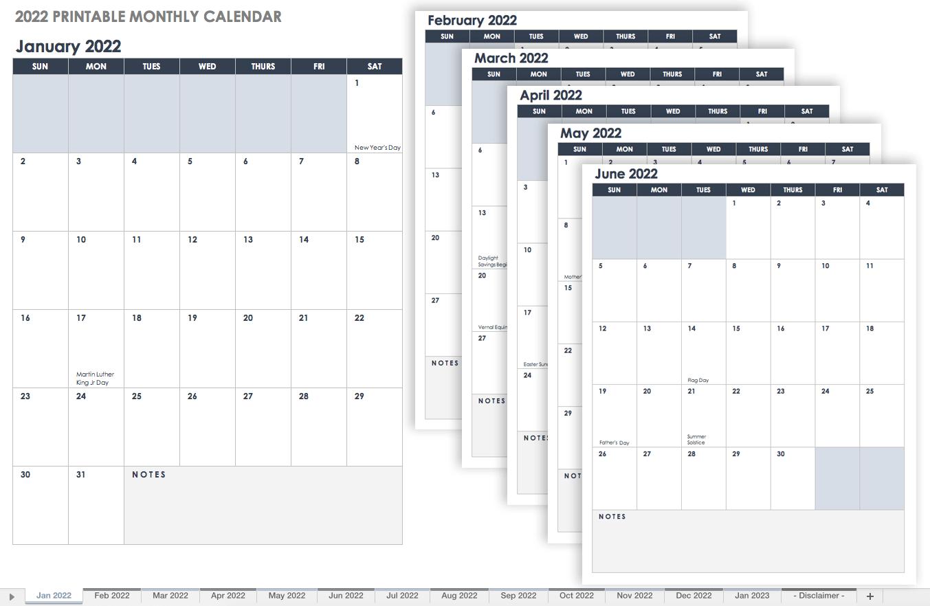 15 Free Monthly Calendar Templates | Smartsheet pertaining to 3 Month Calendar Template