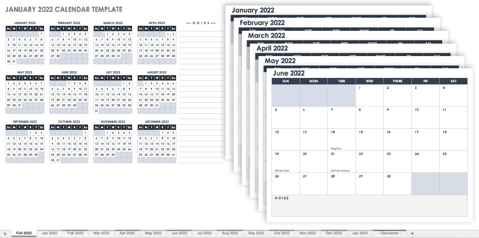 15 Free Monthly Calendar Templates | Smartsheet within Free Printable 5 Day Monthly Calendar