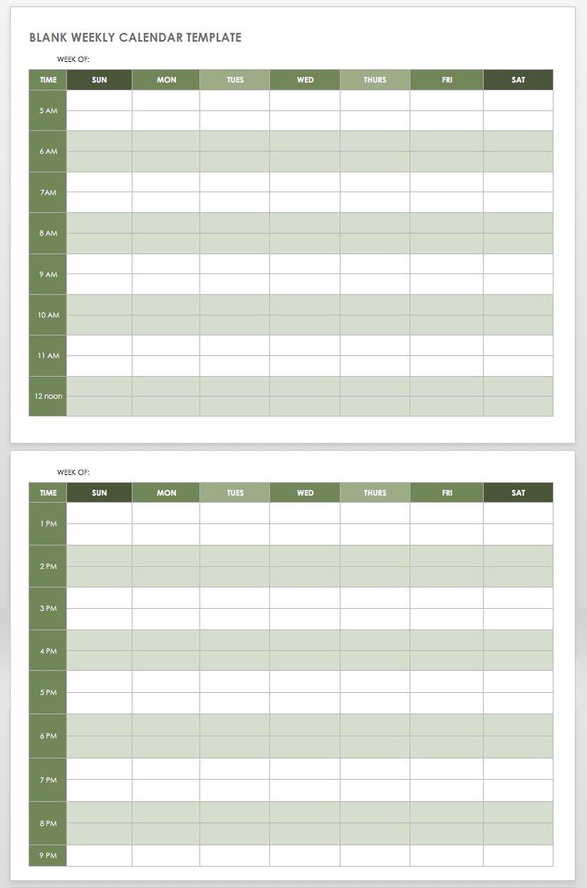 15 Free Weekly Calendar Templates | Smartsheet throughout 2 Week Blank Calendar