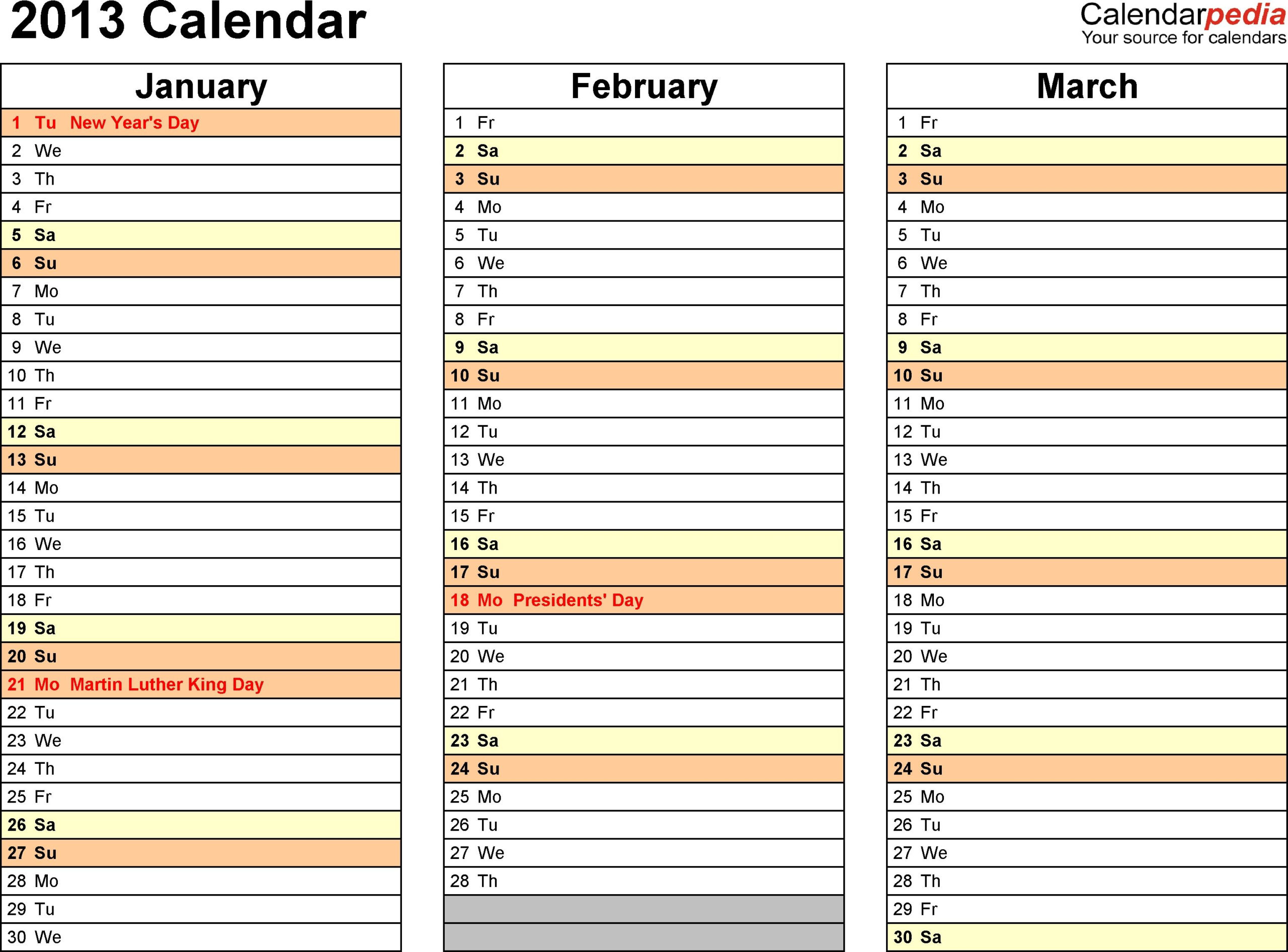 2013 Calendar Word  11 Free Printable Word Templates (.Docx with regard to 3 Month Calendar Template Excel