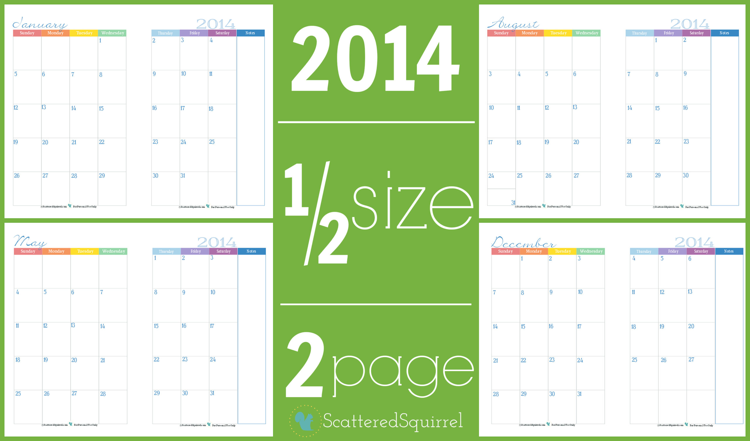 2014 Calendars: Part 3  Scattered Squirrel in Free Printable Calendar 4 Months Per Page