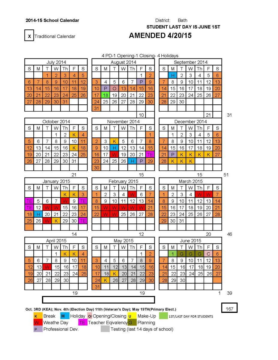 201415 School Calendar  Bath County Schools with regard to Columbia County Ga School Calendar