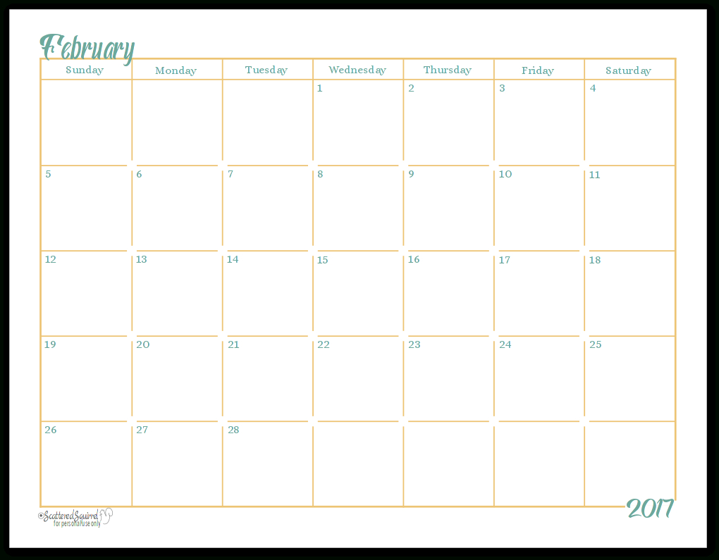 2017 Fullsize Monthly Calendar Printables Are Here!!!!! pertaining to Scattered Squirrel Monthly Calendar