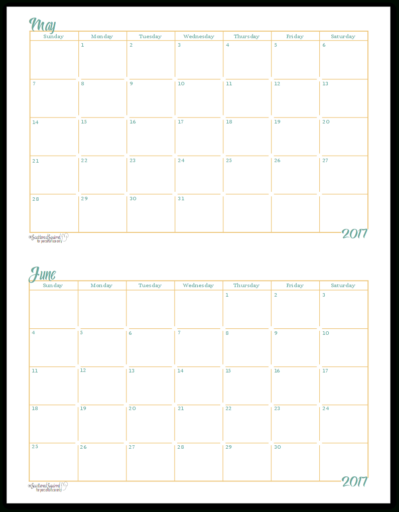 2017 Halfsize Monthly Calendar Printables | Monthly within Scattered Squirrel Monthly Calendar