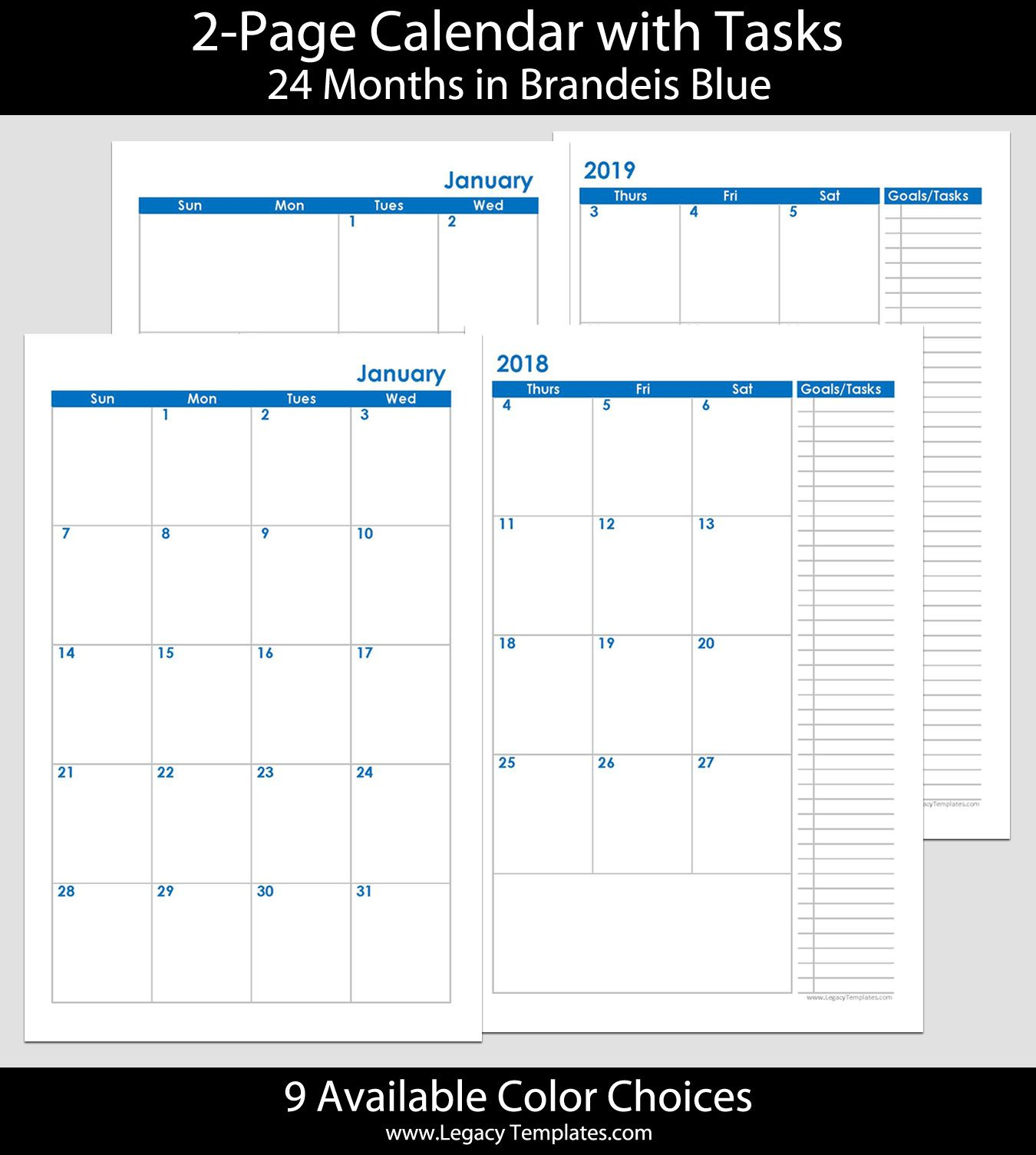 2018 & 2019 24Months 2Page Calendar. Printable 2Page throughout 5.5 X 8.5 Calendar Template