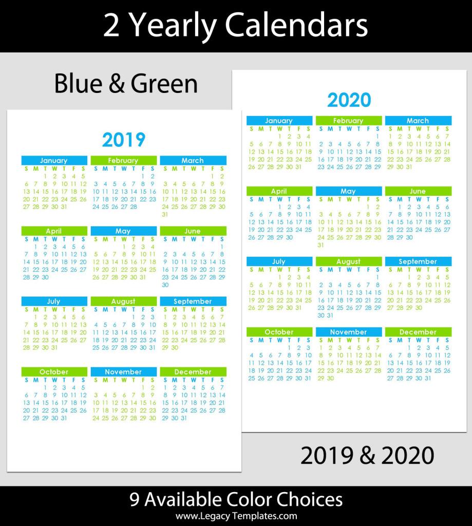 2019 & 2020 Yearly Calendar – 5.5 X 8.5 | Legacy Templates regarding 5.5 X 8.5 Calendar Template