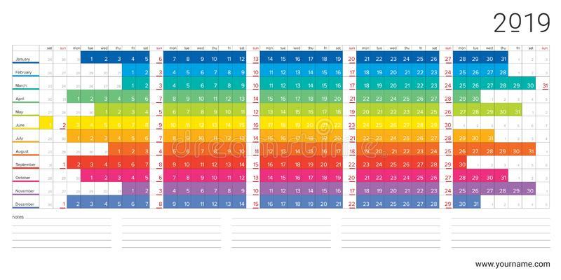 2019 Linear Calendar In Simple Style. Vector Illustration for Linear Calendar Template