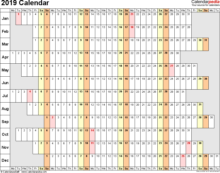2019 Printable Calendar One Page  Google Search | Excel in Linear Calendar Template
