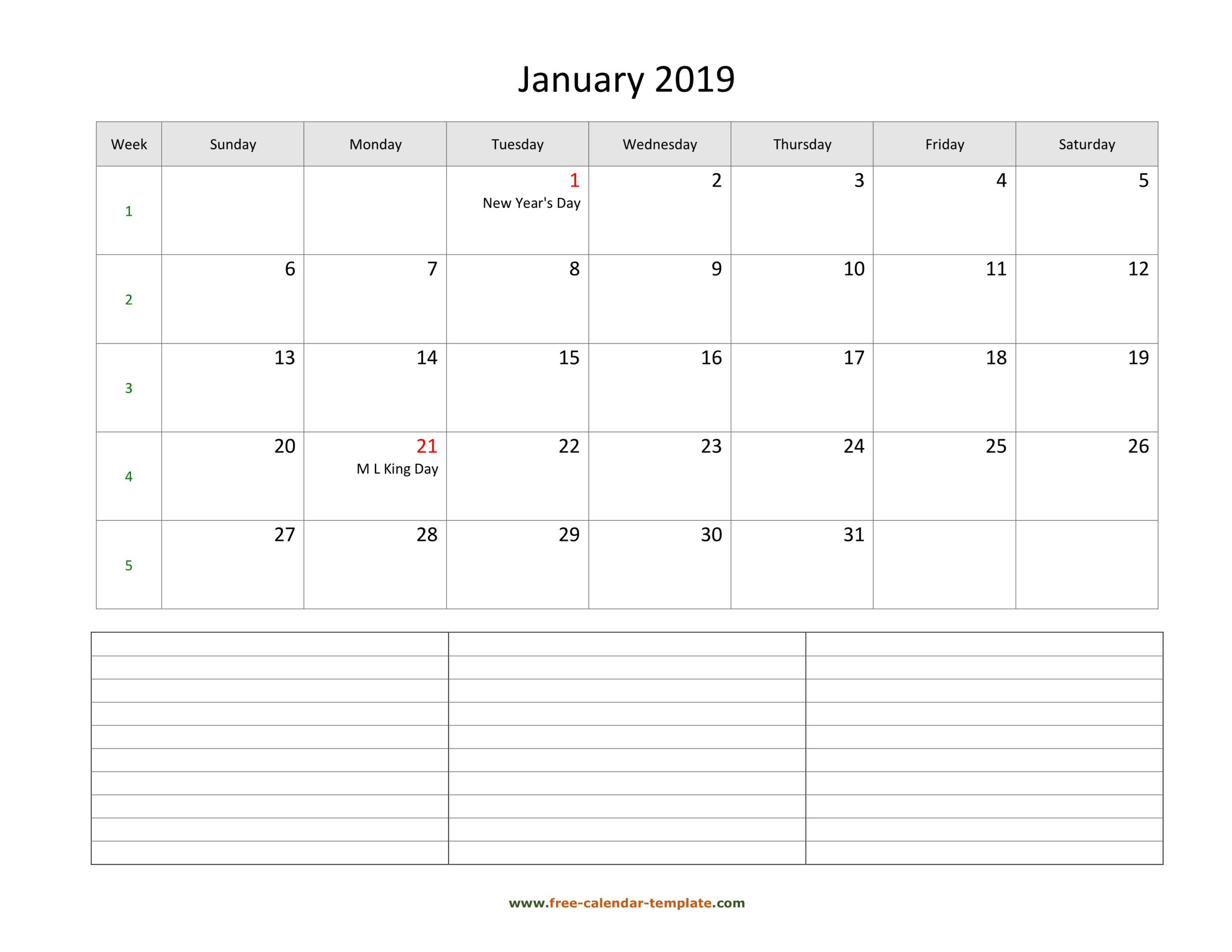 2019 Printable Monthly Calendar With Space For Appointments in 3 Month Calendar Template