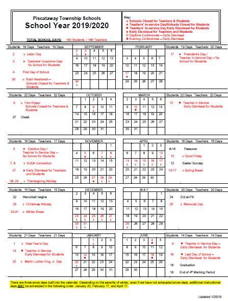 20192020 District Calendar  Piscataway Township Schools regarding Grandview School District Calendar