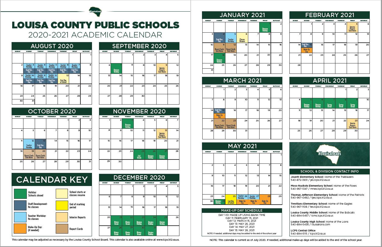 2020  2021 Lcps Calendar  Thomas Jefferson Elementary School in Augusta County School Calendar