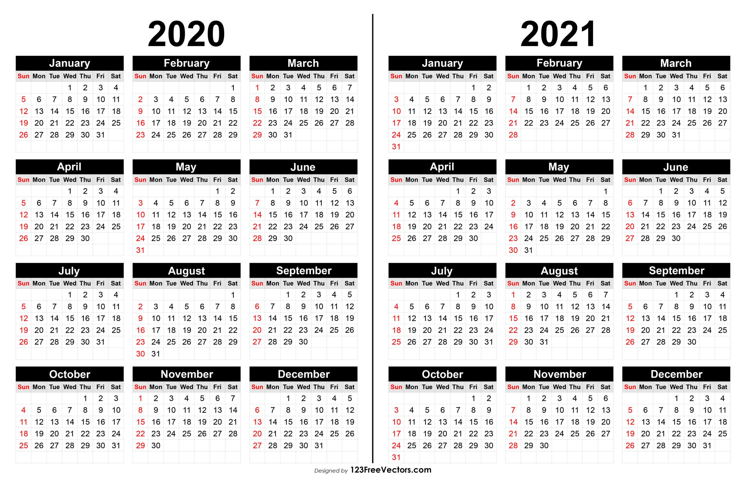 2020 And 2021 Calendar Printable within 2021 Calendar Vector Free