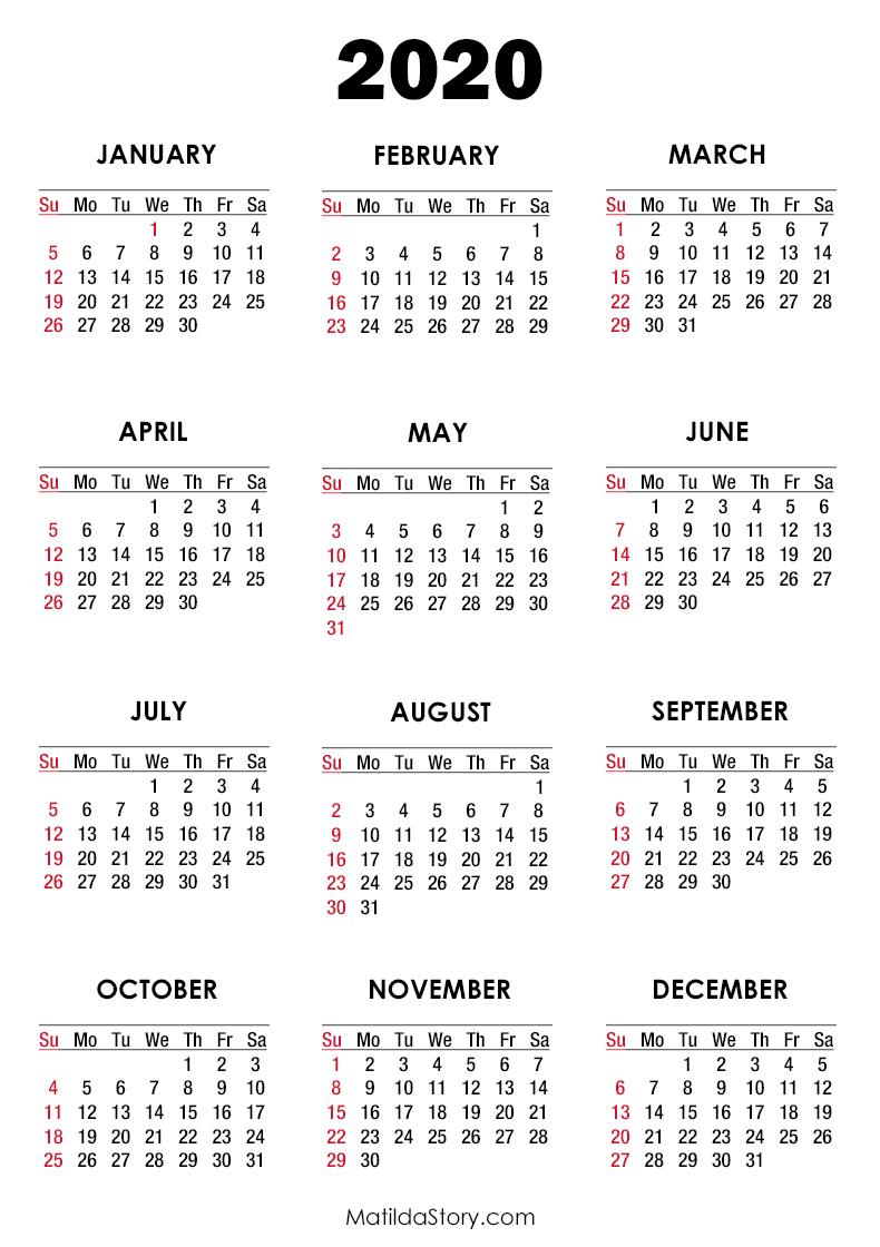 2020 Calendar Printable Free, White – Sunday Start throughout Monday To Sunday Calendar