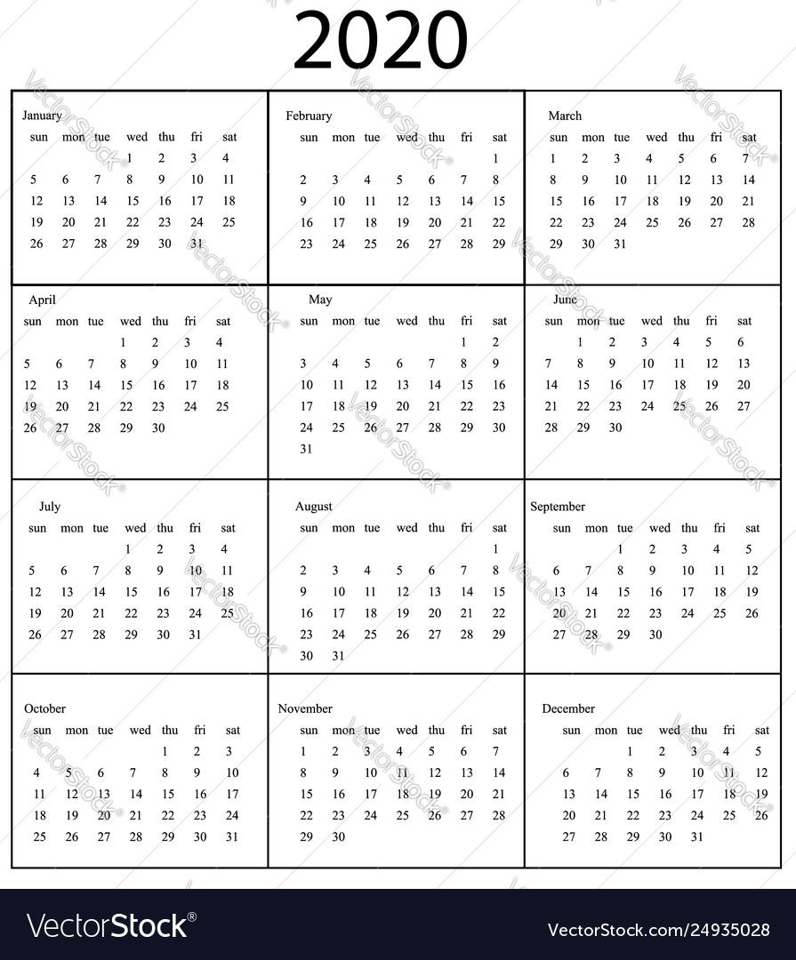 2020 Calendar Template Starts Sunday Year Vector Image regarding Monday To Sunday Calendar
