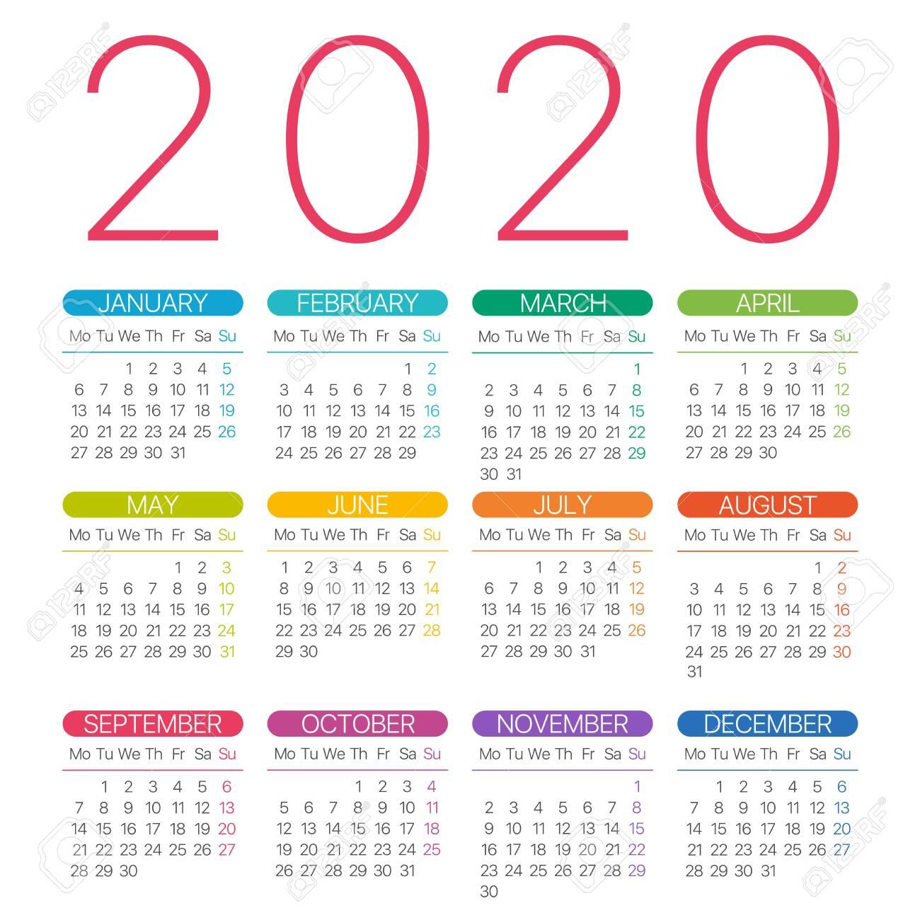 2020 Calendar Thin Line  Monday To Sunday  Vector Template for Monday To Friday Calendar