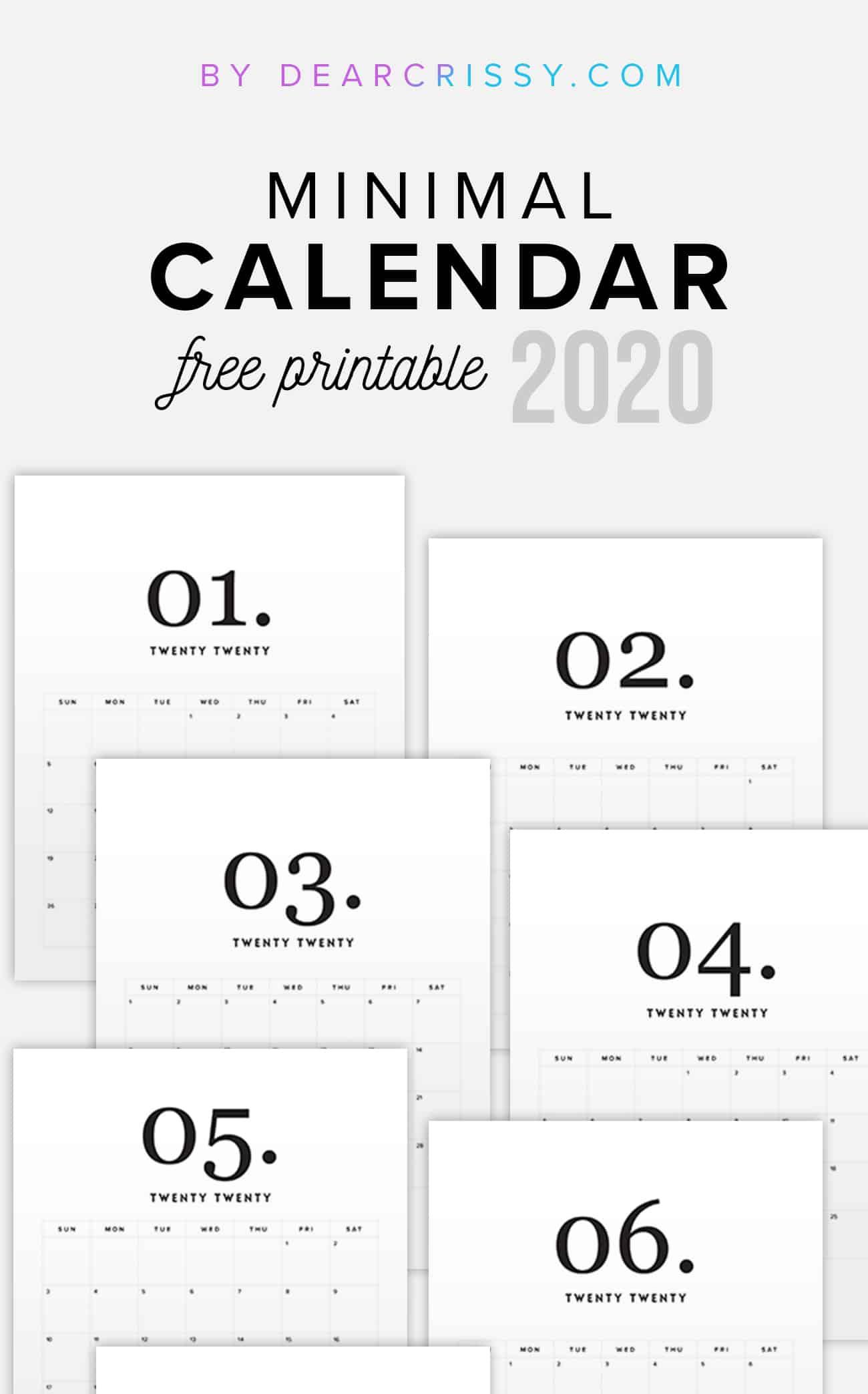2020 Free Printable Calendar  Minimal Modern Calendar intended for Free Printable Calendar Numbers