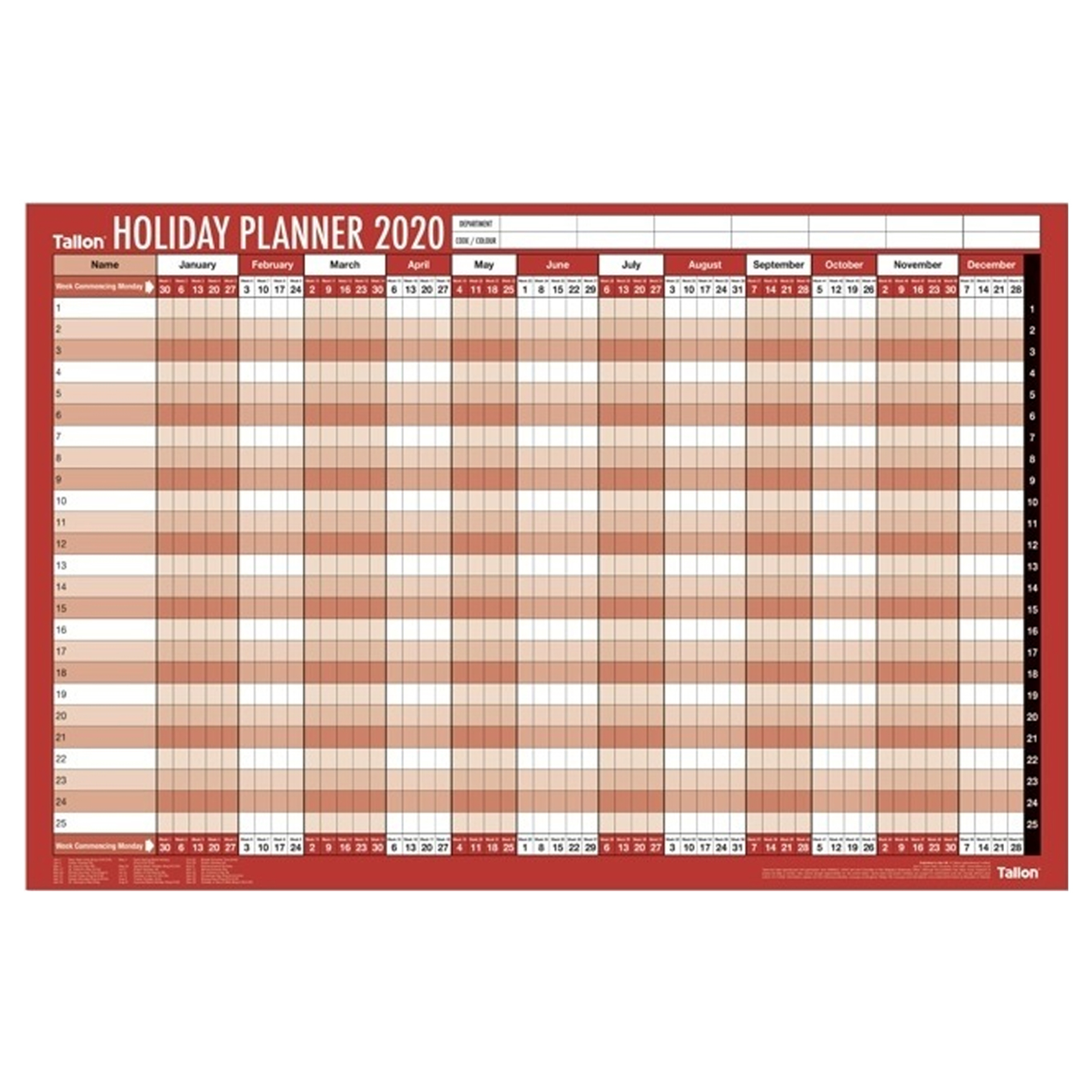 2020 Large Staff Holiday Wall Planner Calendar 88Cm X 58Cm throughout Holiday Stickers For Calendars