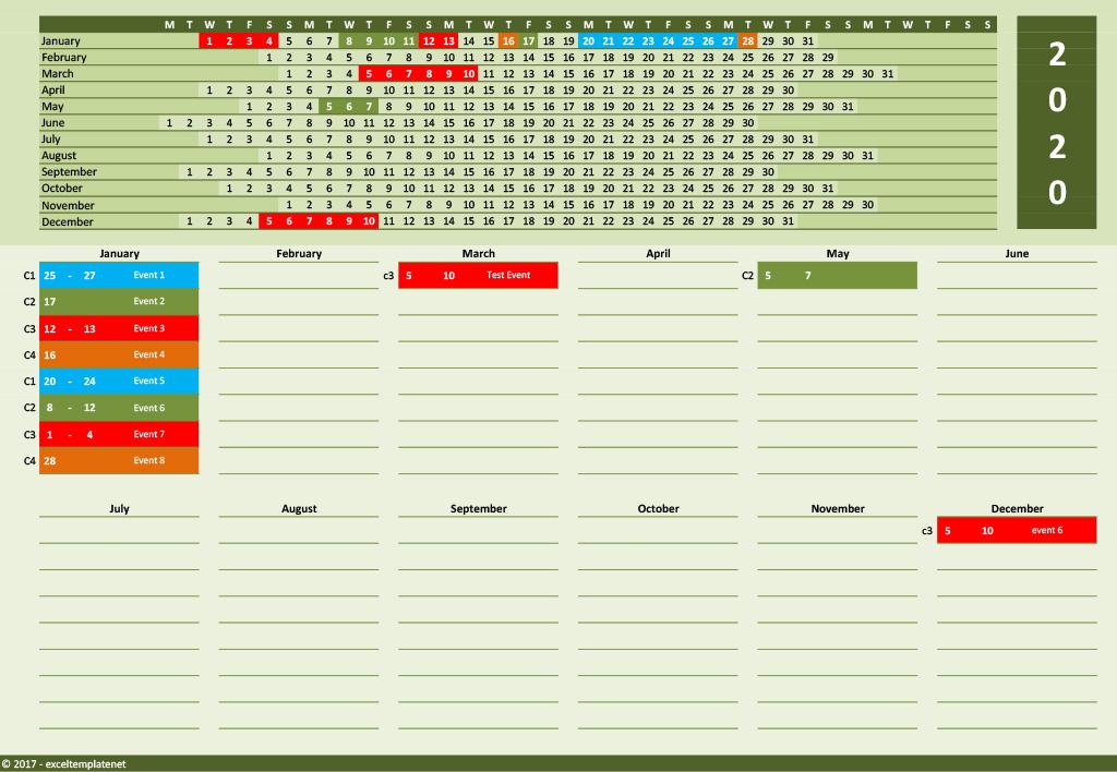 2020 Yearly Calendar Template » Exceltemplate regarding Linear Calendar Template