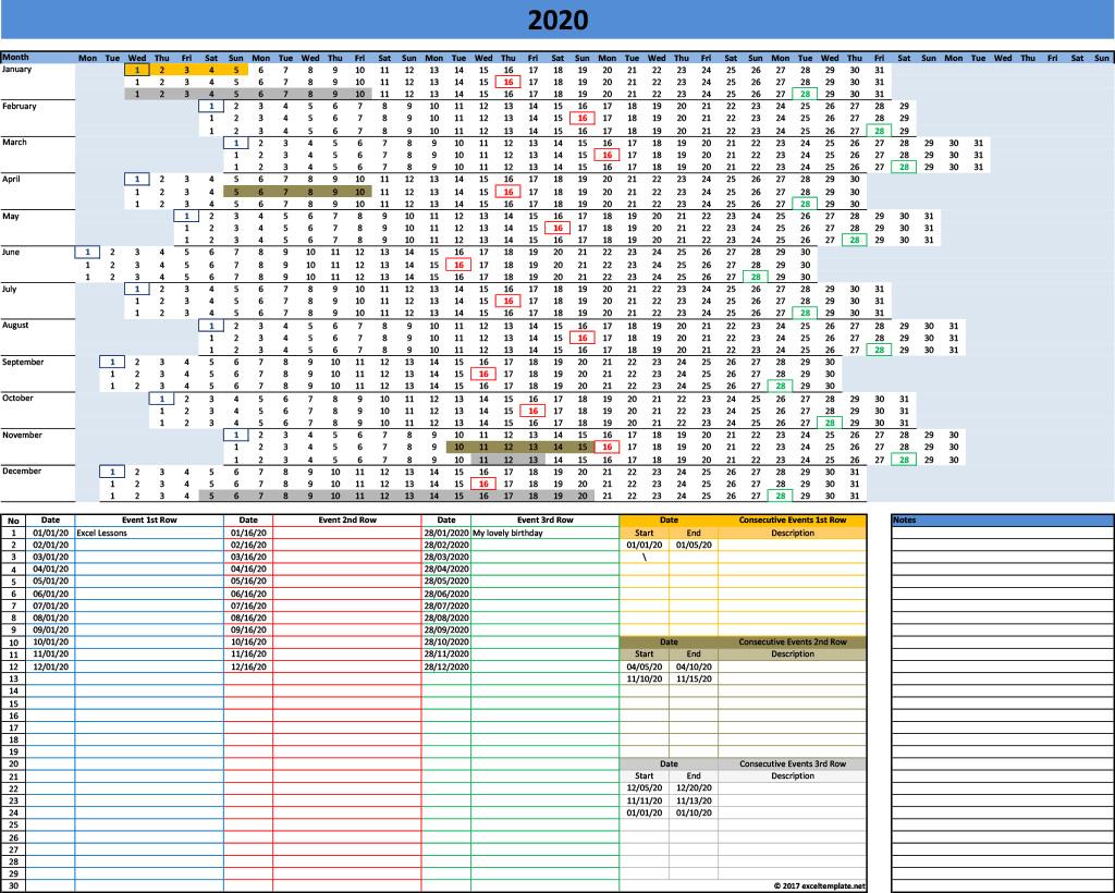 2020 Yearly Calendar Template » Exceltemplate throughout Linear Calendar Template