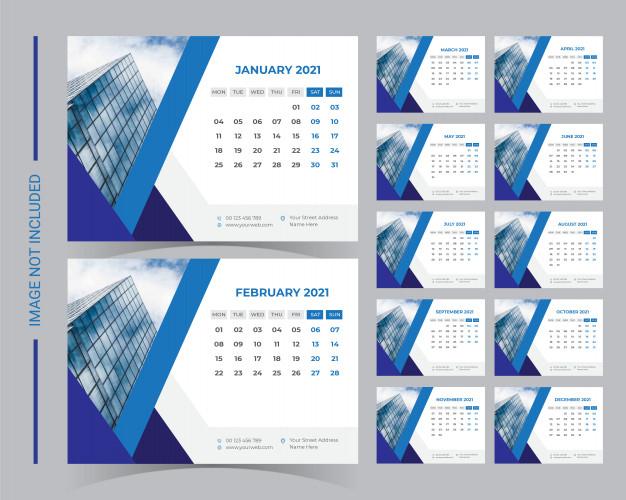 2021 Desk Calendar Template | Premium Vector inside 2021 Calendar Vector Free