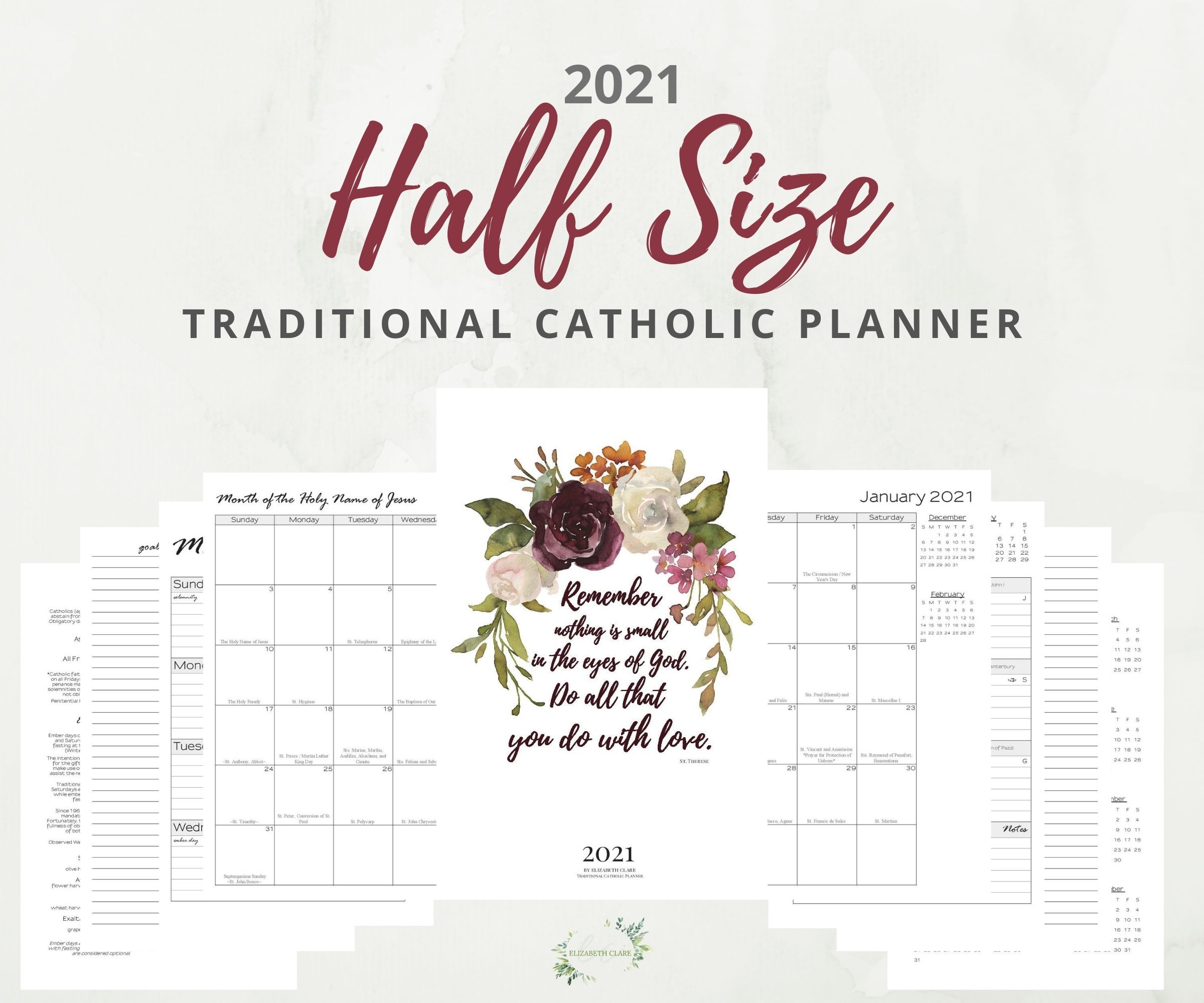 2021 Traditional Catholic Half Size Planner Pdf Printable: (Tlm) Latin Mass with Catholic Daily Planner