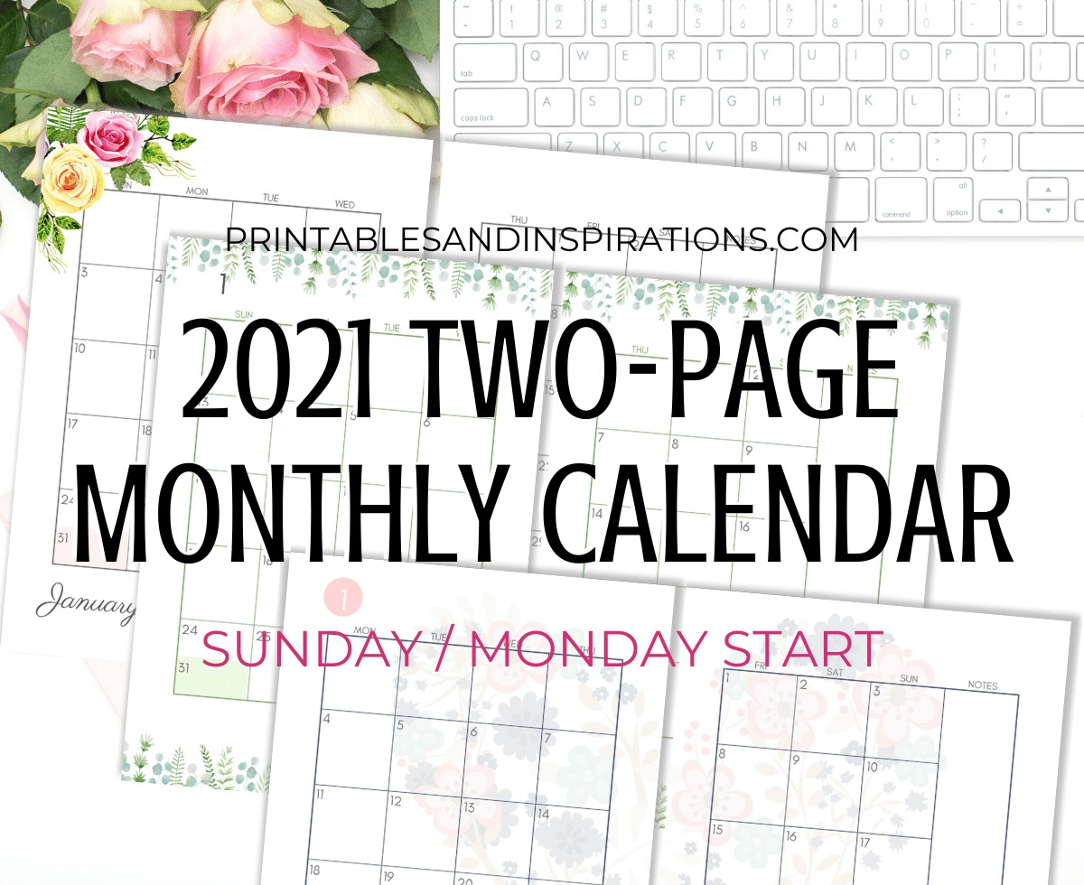 2021 Two Page Monthly Calendar Template  Free Printable with Free Printable Calendar Monday Through Friday