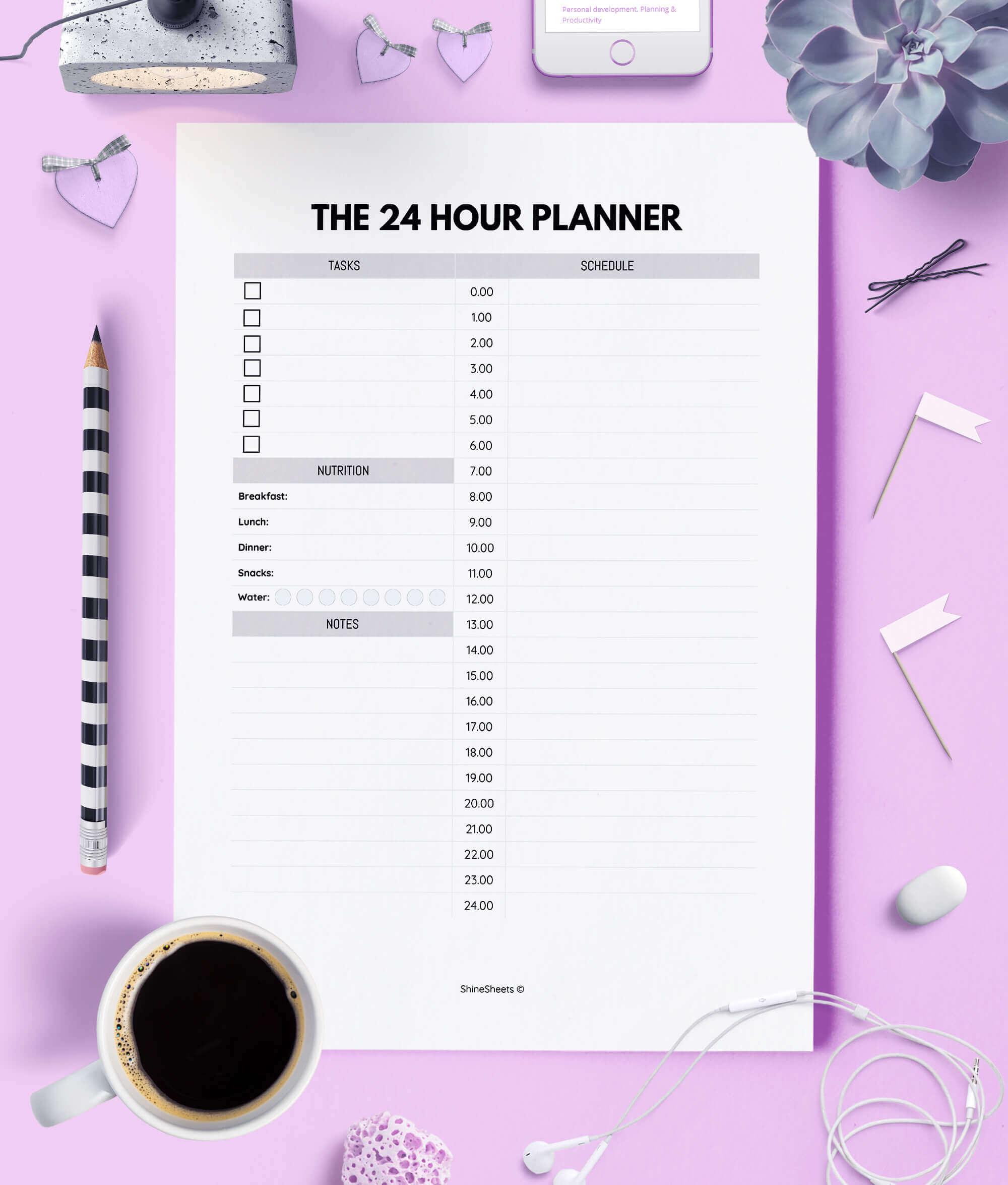 24 Hour Daily Planner Printable regarding 24 Hour Daily Planner Printable
