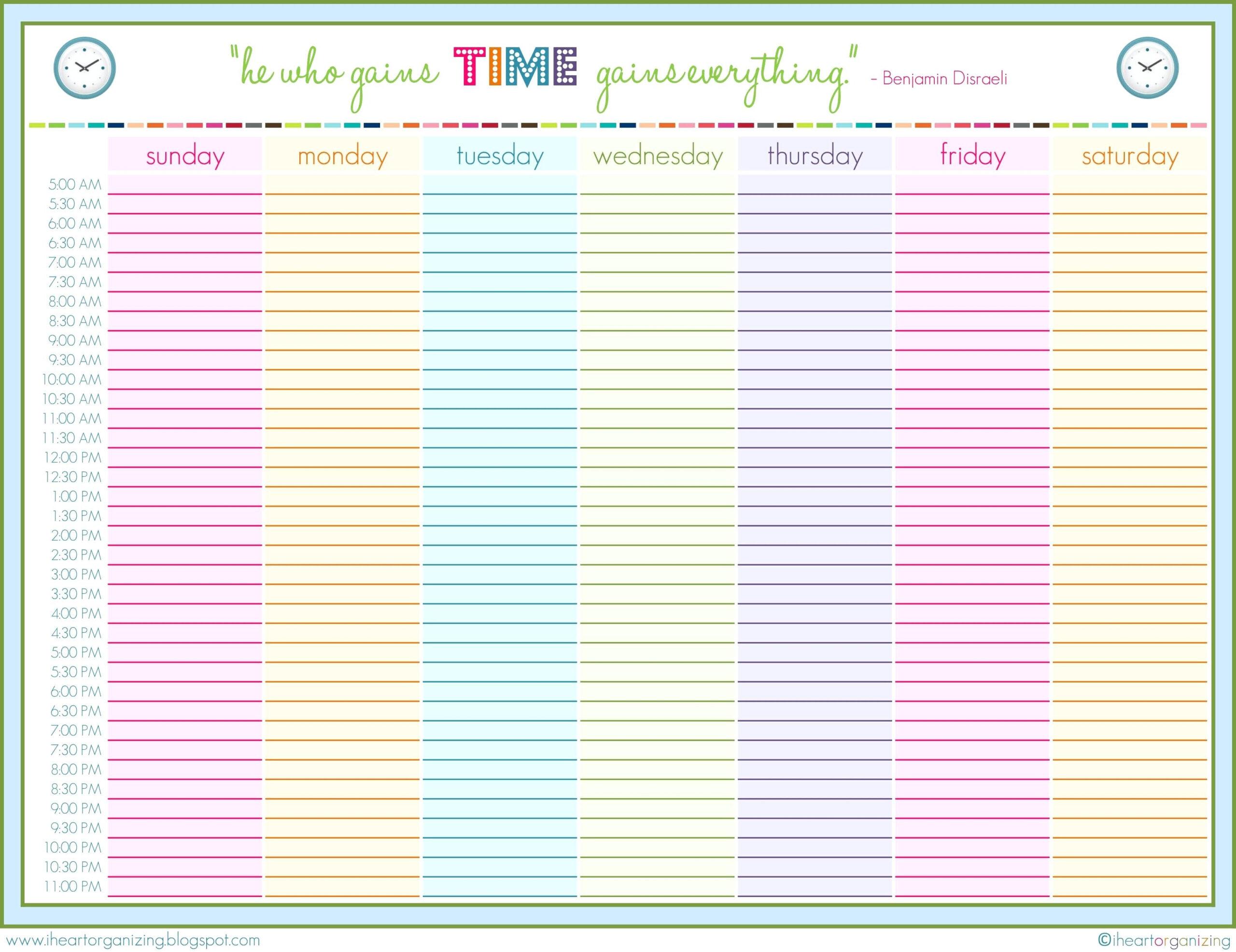 24 Hour Schedule Printable | Shop Fresh regarding 24 Hour Daily Planner Printable