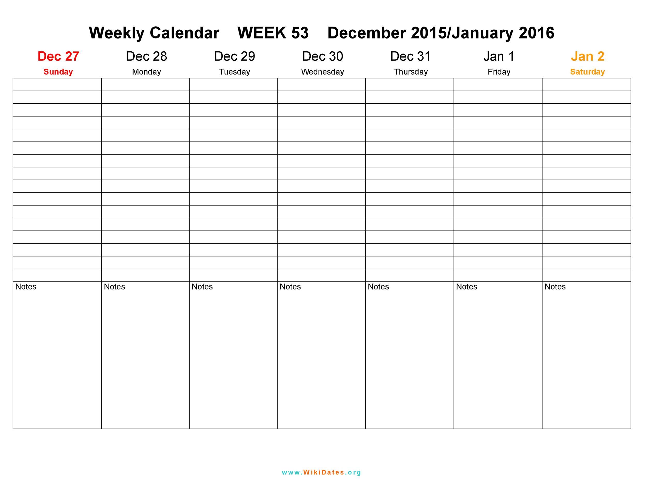 26 Blank Weekly Calendar Templates [Pdf, Excel, Word] ᐅ for 2 Week Calander