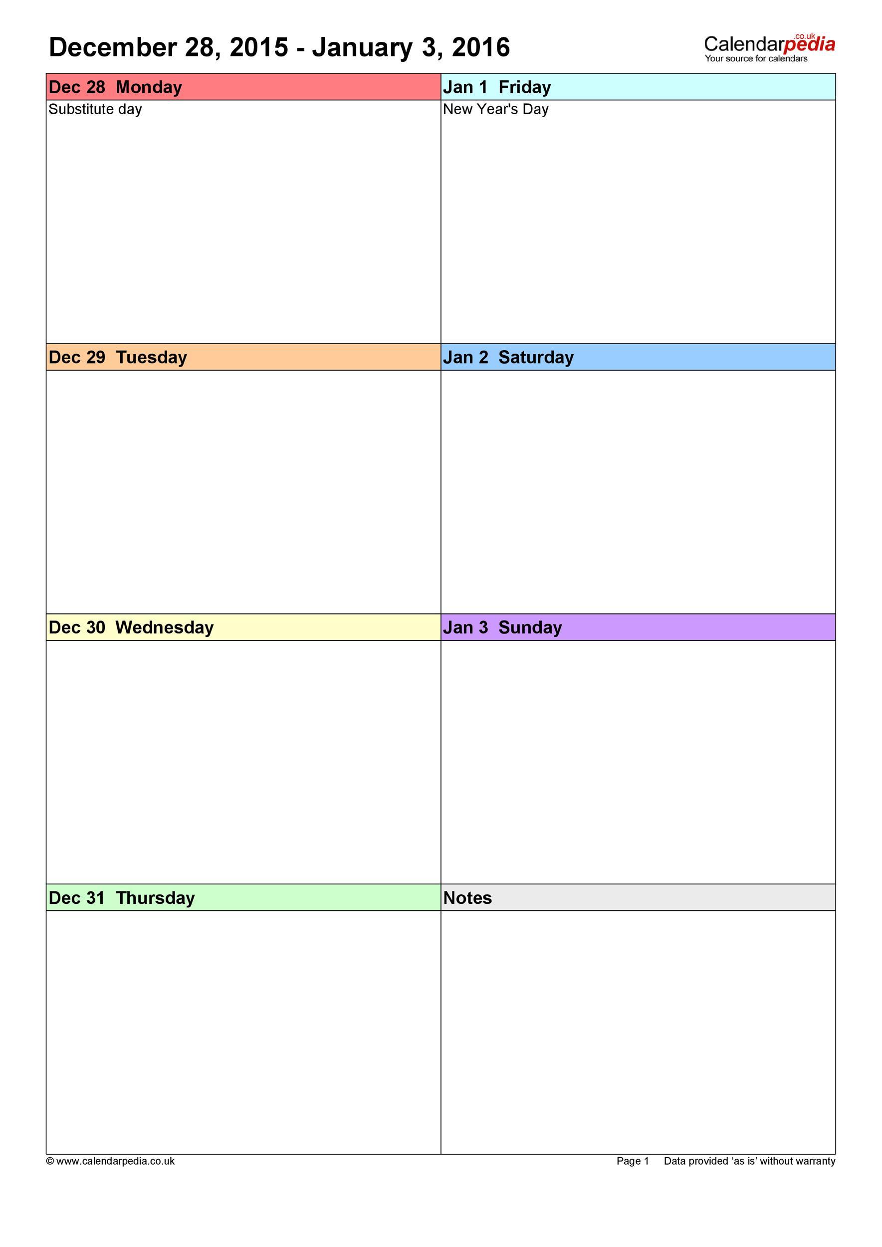 26 Blank Weekly Calendar Templates [Pdf, Excel, Word] ᐅ regarding 3 Week Blank Calendar