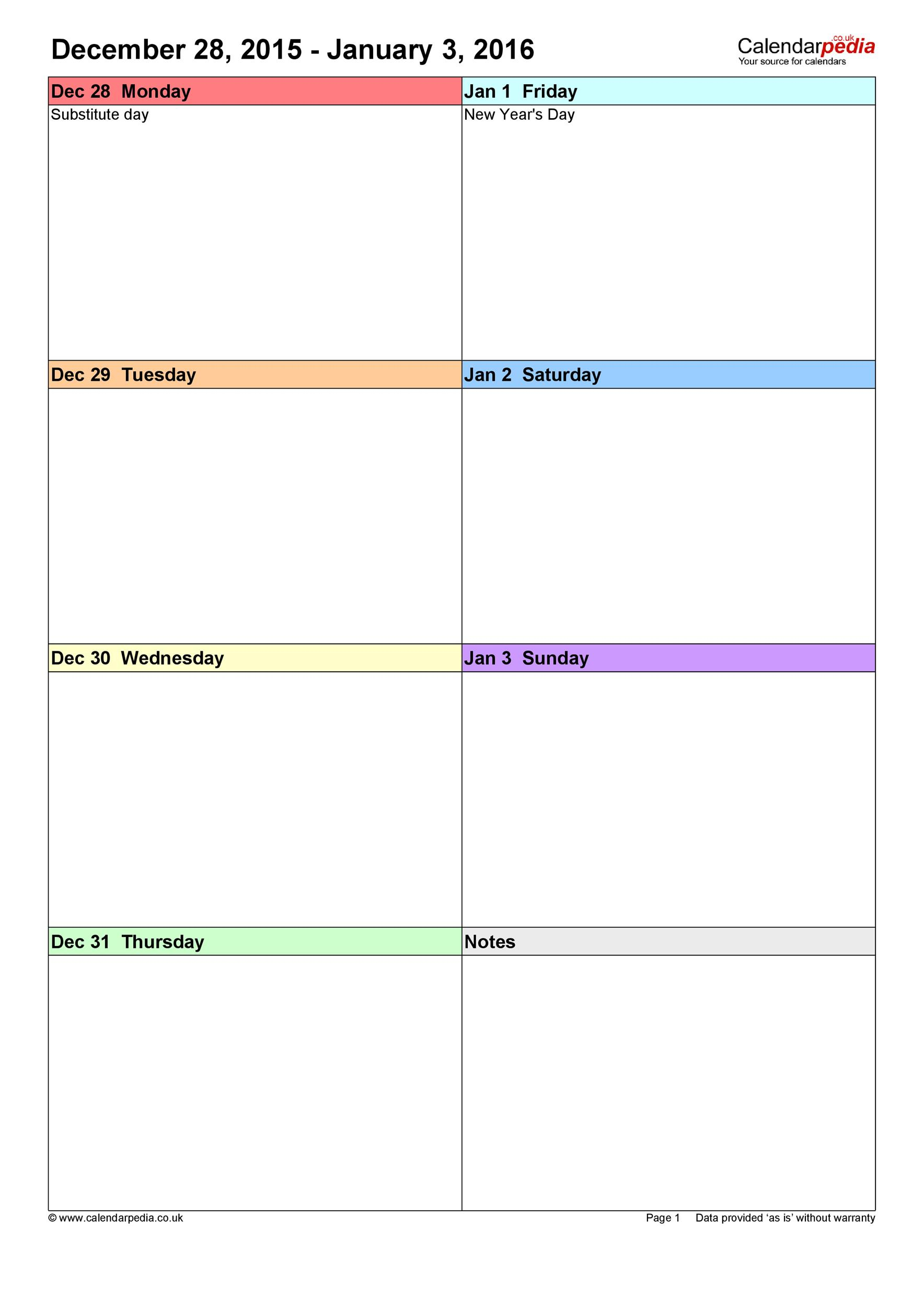 26 Blank Weekly Calendar Templates [Pdf, Excel, Word] ᐅ within 2 Week Blank Calendar