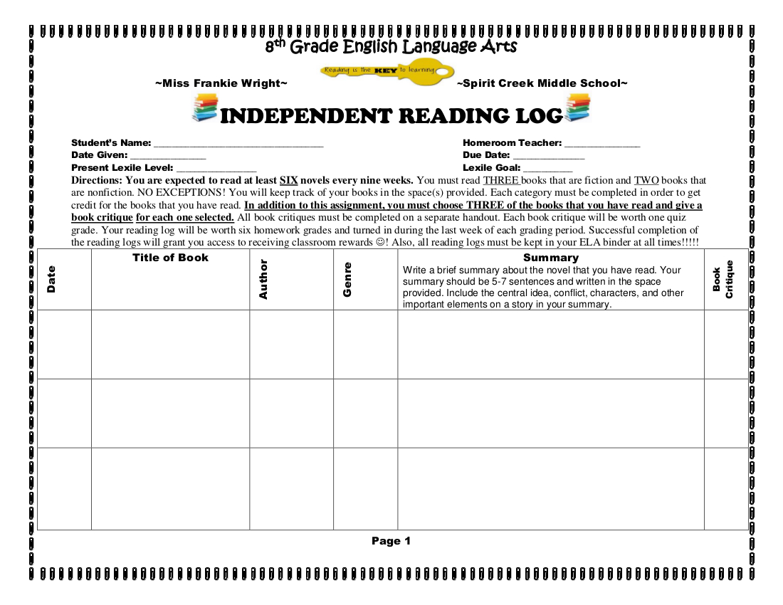 29+ Printable Reading Log Examples In Pdf | Examples inside Middle School Reading Log Template