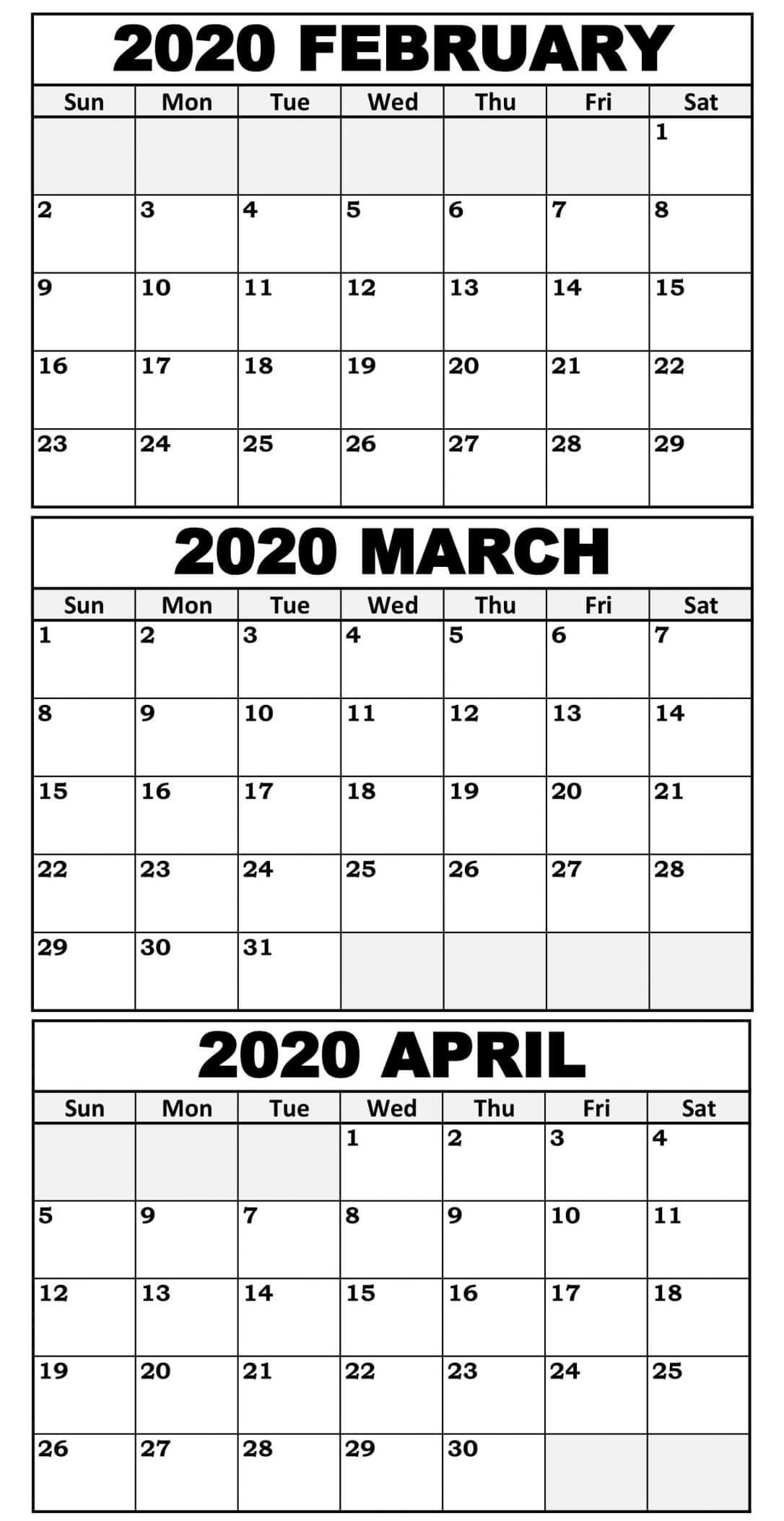 3 Month Calendar Printable 2020 | Calendar For Planning within 3 Month Blank Calendar Template