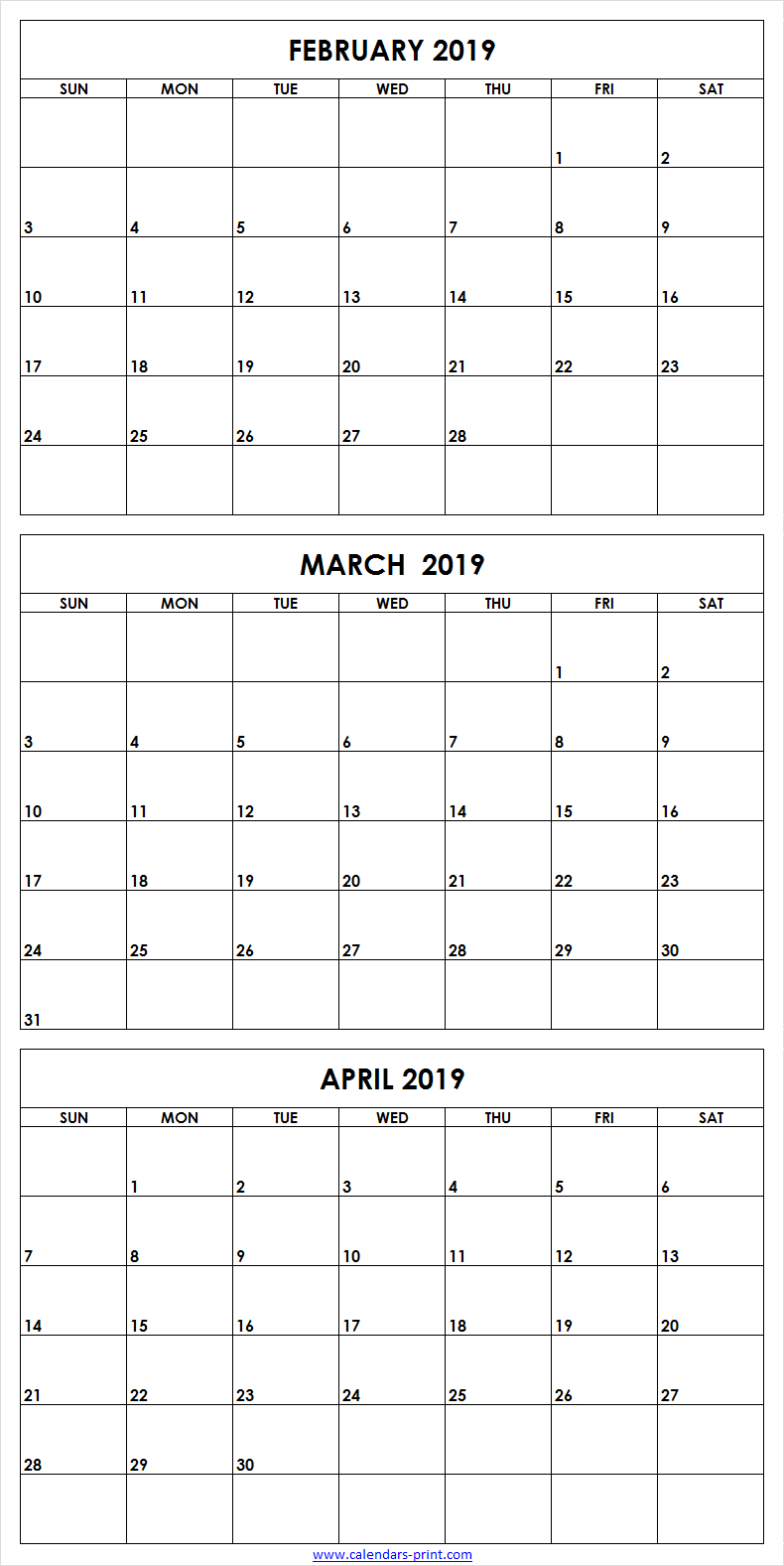 3 Month February To April 2019 Calendar Template | 3 Month with 3 Month Calendar Template
