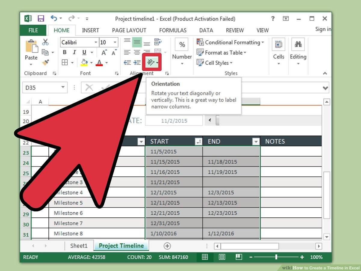 3 Ways To Create A Timeline In Excel  Wikihow with regard to Convert List Of Dates To Calendar Excel