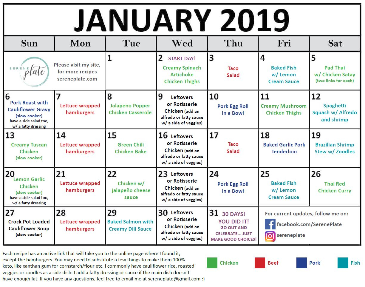 30 Day Keto Meal Plan For January 2019 | Low Carb Dinners intended for 100 Days Of Keto Calendar