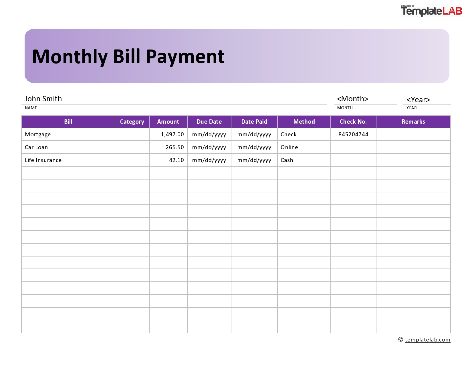 33 Free Bill Pay Checklists & Bill Calendars (Pdf, Word & Excel) inside Free Printable Monthly Bill Organizer Template