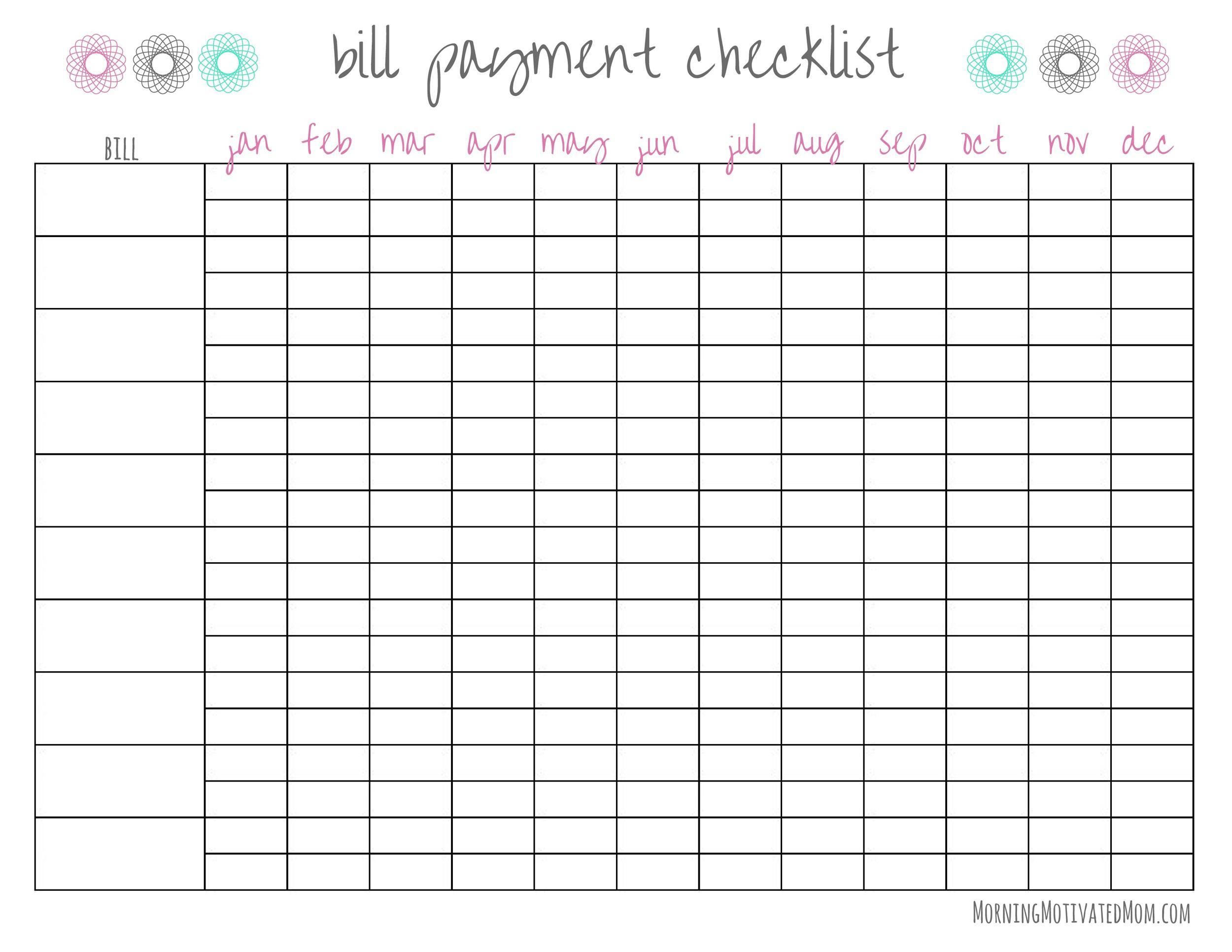 33 Free Bill Pay Checklists & Bill Calendars (Pdf, Word & Excel) with Free Printable Monthly Bill Organizer Template