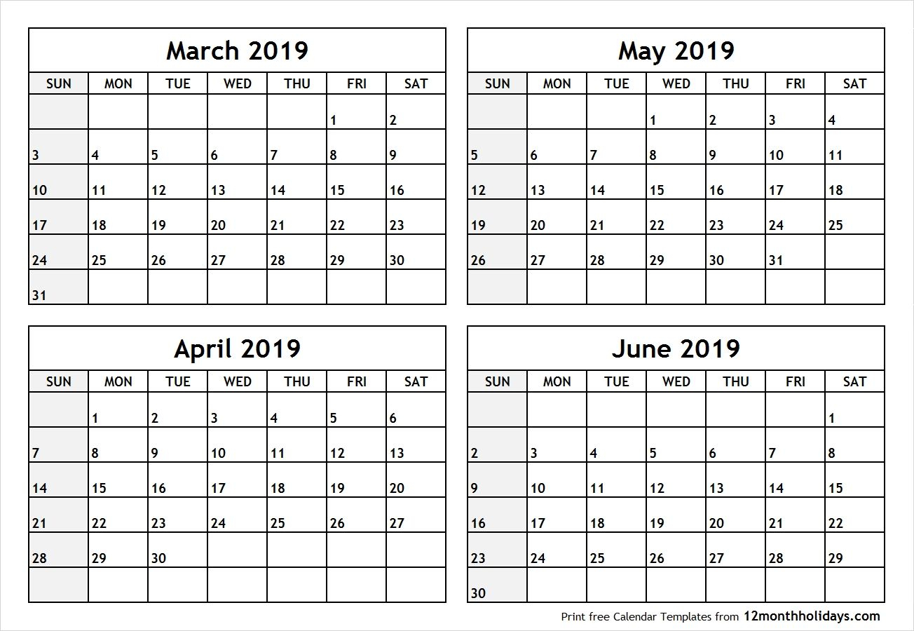 4 Month Blank Calendar 2019 March April May June #April #May for Free Printable 4 Month Calendar