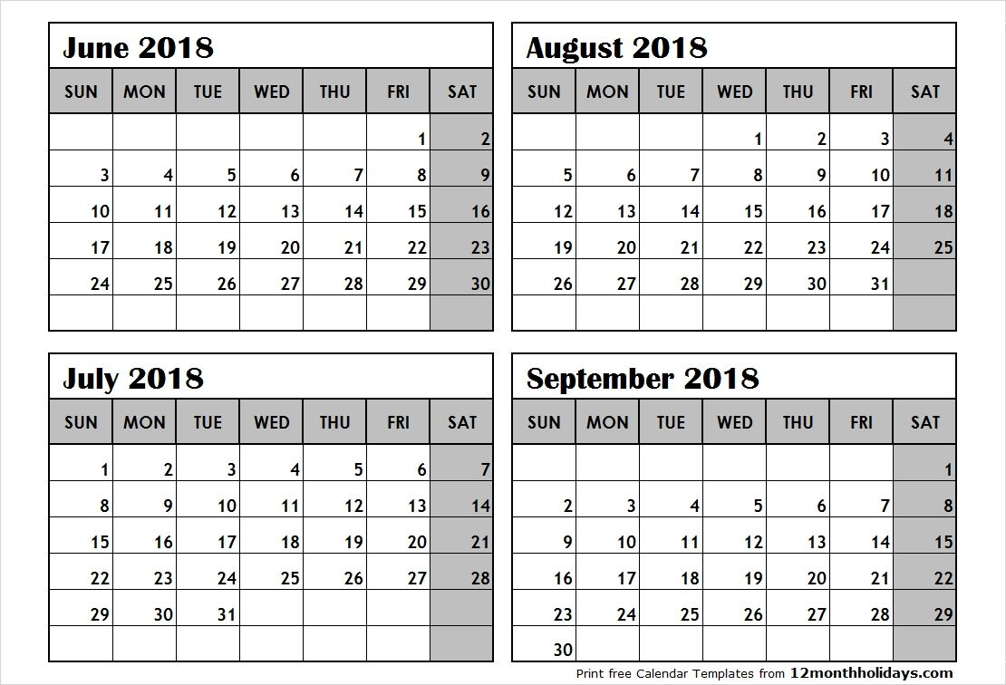 4 Month Calendar Template In 2020 | Monthly Calendar in Free Printable 4 Month Calendar