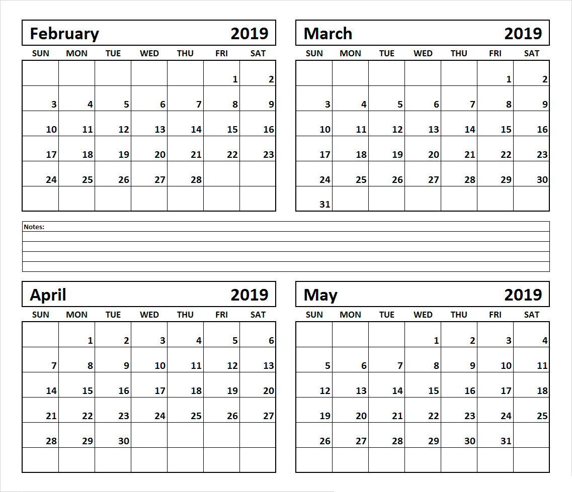 4 Month February March April May 2019 Calendar #March #April throughout Free Printable 4 Month Calendar