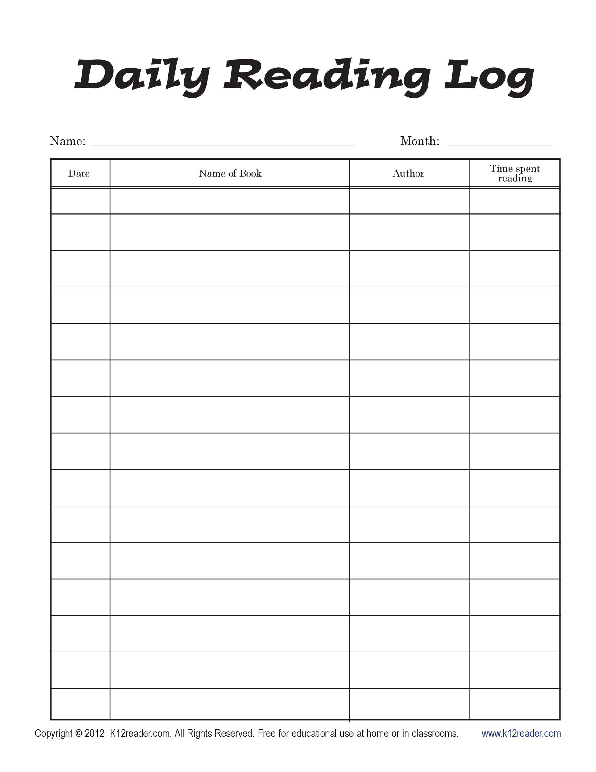 47 Printable Reading Log Templates For Kids, Middle School throughout Middle School Reading Log Template