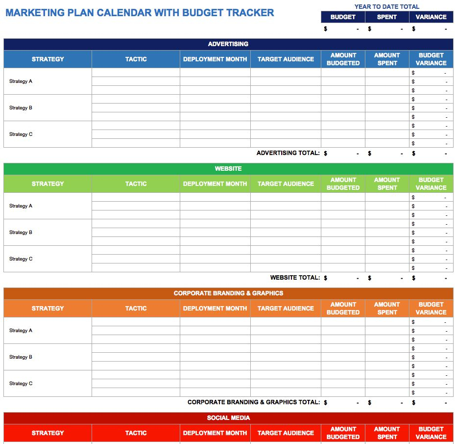 9 Free Marketing Calendar Templates For Excel  Smartsheet for Smartsheet Social Media Calendar
