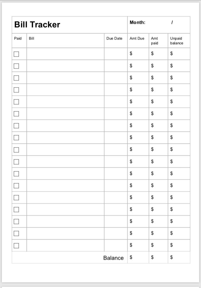 A5 Printable Bill Tracker | Bill Payment Checklist, Bill within Happy Planner Bill Pay Checklist