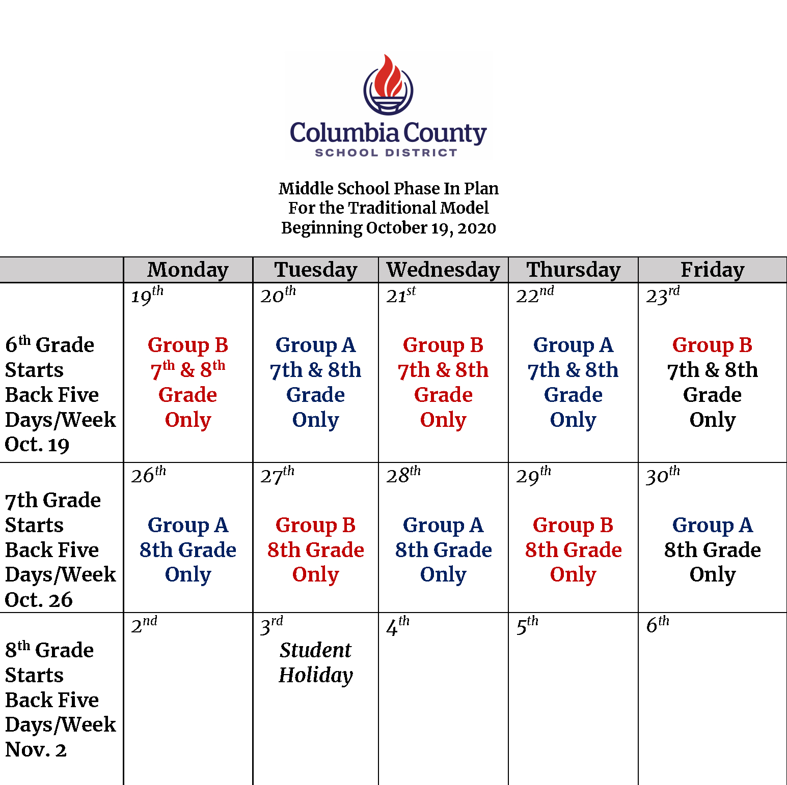 Ab Schedule Information For Middle And High School – Ccsd throughout Columbia County Ga School Calendar