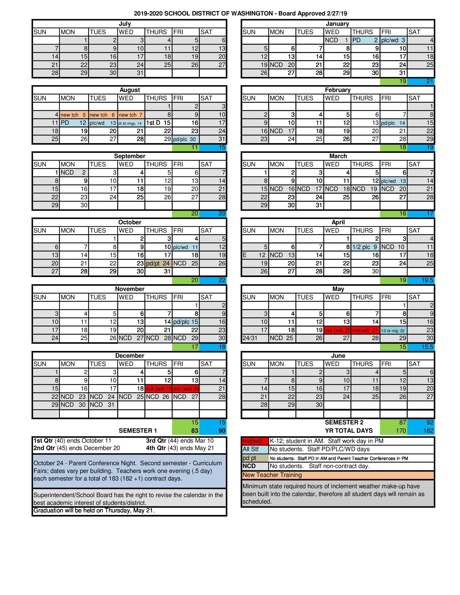 Academic Calendar Information  School District Of Washington throughout Augusta County School Calendar